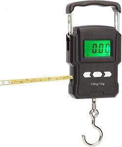 フィッシング用デジタルスケール デジタル吊り下げ秤 フィッシングスケール メジャー付き デジタル吊りはかり 高精度 軽量 電子吊りはかり【最大75kgまで計測可 / 大物対応 】 旅行はかり