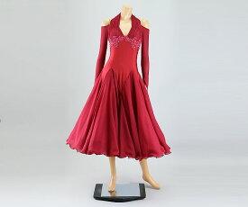 社交ダンス/社交ダンス衣装/衣装/社交ダンスドレス/ドレス/ウェア/ダンスウェア/Mサイズ/ワインレッド 赤