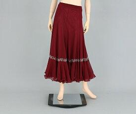 社交ダンス/社交ダンス衣装/衣装/スカート/ウェア/ダンスウェア/フリーサイズ/ワインレッド