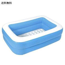 MRG 子供用プール 家庭用 143 × 90 × 36cm 長方形 ビニールプール 子供 プール 深い ベランダ おもちゃ (プール単品、 ブルー)