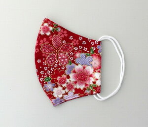 和柄立体マスク 大桜 赤 成人式 着物