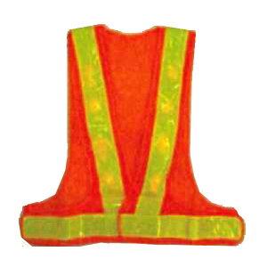 赤LED安全ベスト オレンジ×蛍光黄色 テープ幅60mm 14000mcd 赤LED16個 LED-OL エース神戸
