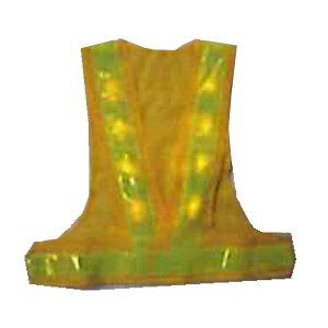 黄LED安全ベスト 黄色×蛍光黄色 テープ幅60mm 8000mcd 黄LED16個 LED-YL-Y エース神戸