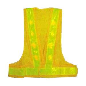 赤LED安全ベスト 黄色×蛍光黄色 テープ幅60mm 14000mcd 赤LED16個 LED-YL エース神戸