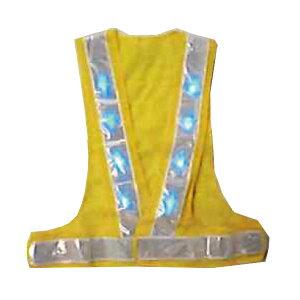 青LED安全ベスト 黄色×白 テープ幅60mm 4000mcd 青LED16個 LED-YW-B エース神戸