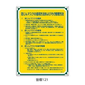 管理標識 防じんマスクの着用方法〜 600×450 緑十字 管理121 050121