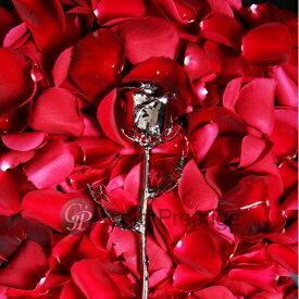 プリザーブドフラワー ギフト 敬老の日 プレゼント バラ 1輪 『ゴールドプレスティージ プラチナローズ』 花 薔薇 ローズ 24金 プロポーズ 結婚祝い 開店祝い 結婚記念日 ブリザードフラワー 母の日 ギフト 贈り物 送料無料