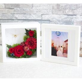 プリザーブドフラワー 写真立て 時計 『souvenir スーヴニール』 花 薔薇 バラ フォトフレーム 結婚祝い 新築祝い 結婚記念日 ブリザードフラワー プレゼント ギフト 贈り物 送料無料 メッセージカード