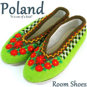 ポーランド ルームシューズ クラクフ花刺繍サイズ36(23cm-23.5cm) 北欧 室内履き 手作り05P07Feb16