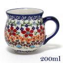 ポーランド食器 ポーリッシュポタリー ポーランド陶器・食器 マグカップS 200ML フラワー柄 お花モチーフ マニュ…