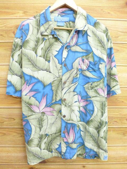 古着 ハワイアン シャツ 葉 シルク 水色系 XLサイズ 中古 メンズ 半袖 アロハ トップス