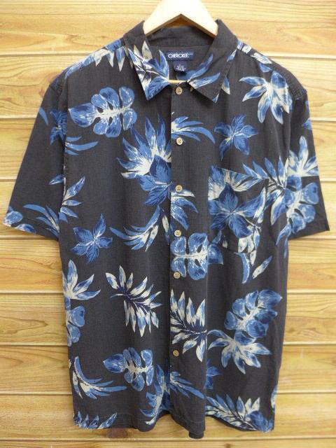 古着 ハワイアン シャツ チェロキー 葉 シルク 黒 ブラック Lサイズ 中古 メンズ 半袖 アロハ トップス