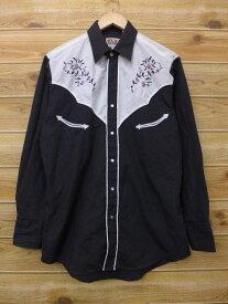 古着 長袖 ウエスタン シャツ 花 刺繍 黒 ブラック Lサイズ 中古 メンズ トップス