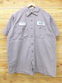古着 半袖 ワーク シャツ レッドキャップ レオナルド グレー XLサイズ 中古 メンズ トップス