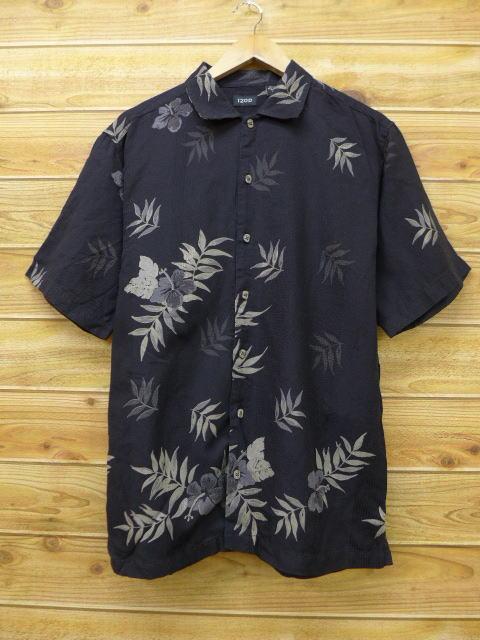 古着 ハワイアン シャツ IZOD ハイビスカス 黒 ブラック Lサイズ 中古 メンズ 半袖 アロハ トップス