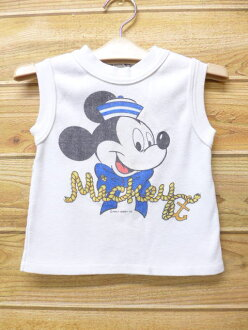 Old clothes kids children's clothes vintage no sleeve T-shirt Disney DISNEY Mickey MICKEY MOUSE dyeing print white white