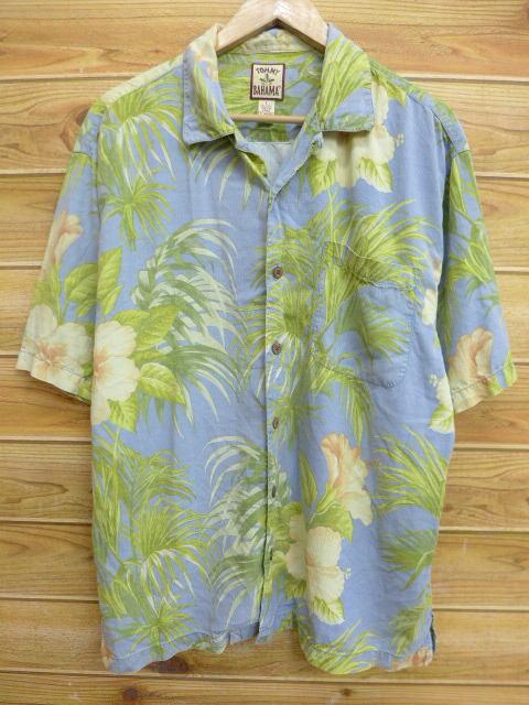 古着 ハワイアン シャツ トミーバハマ ハイビスカス シルク 薄紺 ネイビー Lサイズ 中古 メンズ 半袖 アロハ トップス