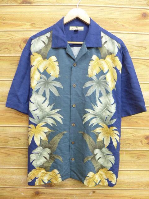 古着 ハワイアン シャツ トミーバハマ 葉 シルク 紺他 ネイビー チャック Lサイズ 中古 メンズ 半袖 アロハ トップス