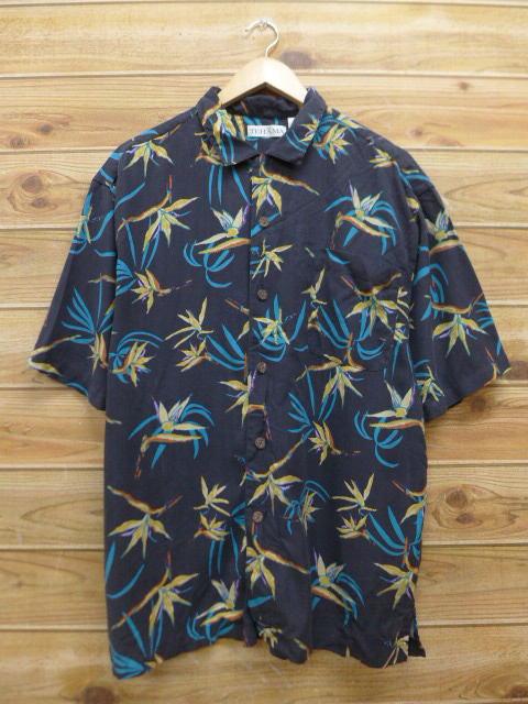 古着 ハワイアン シャツ シルク 黒 ブラック Lサイズ 中古 メンズ 半袖 アロハ トップス
