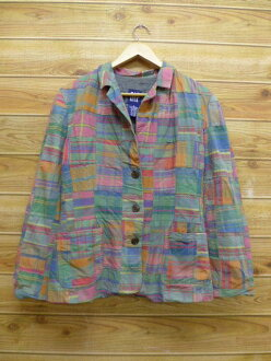 Old clothes Lady's jacket gap GAP patchwork green other green check used outer jacket blouson