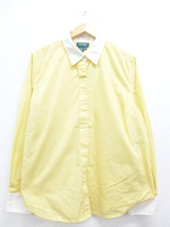 Old clothes Lady's long sleeves shirt Ralph Lauren Ralph Lauren logo big size yellow yellow used blouse tops