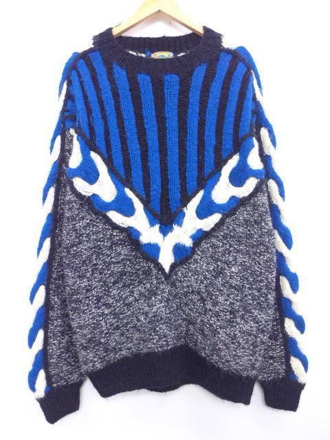 古着 セーター 3Dニット 手織り 黒他 ブラック 【spe】 Lサイズ 中古 メンズ ニット トップス