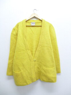 Old clothes Lady's knit cardigan mohair yellow yellow used tops