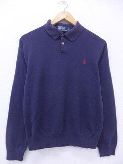 Old clothes Lady's sweater Ralph Lauren Ralph Lauren logo cotton dark blue navy used knit tops