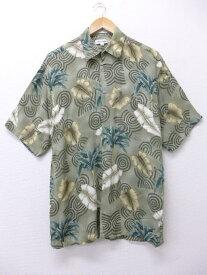 古着 ハワイアン シャツ ピエールカルダン pierre cardin ヤシの木 葉 レーヨン 緑 グリーン Lサイズ 中古 メンズ 半袖 アロハ トップス