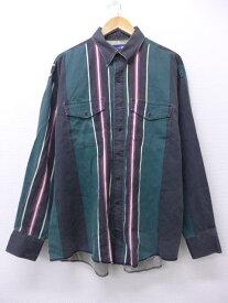 古着 長袖 ウエスタン シャツ ラングラー Wrangler 大きいサイズ 緑他 グリーン ストライプ XLサイズ 中古 メンズ トップス