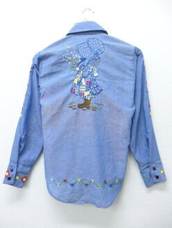 Navy used blouse tops lightly dark blue child hand-sewn embroidery of the old clothes Lady's long sleeves chambray shirt Sears woman