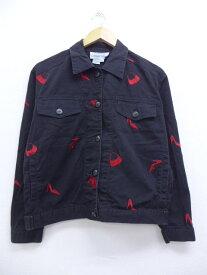 古着 レディース ジージャン 靴 鞄 刺繍 黒 ブラック 中古 アウター Gジャン デニム ジャケット