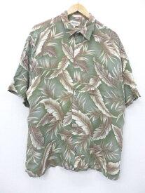 古着 ハワイアン シャツ 葉 大きいサイズ レーヨン 緑他 グリーン XLサイズ 中古 メンズ 半袖 アロハ トップス