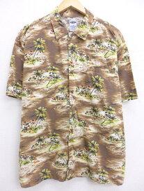 古着 ハワイアン シャツ オールドネイビー OLD NAVY ヤシの木 茶 ブラウン Lサイズ 中古 メンズ 半袖 アロハ トップス