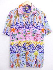 古着 ハワイアン シャツ 人々 魚 貝 ヒトデ シルク ピンク他 Sサイズ 中古 メンズ 半袖 アロハ トップス