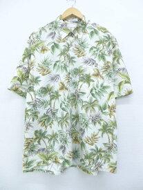 古着 ハワイアン シャツ ピエールカルダン pierre cardin 木 葉 大きいサイズ 白他 ホワイト XLサイズ 中古 メンズ 半袖 アロハ トップス