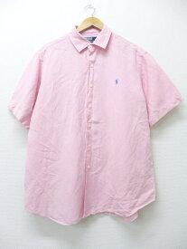 古着 半袖 シャツ ラルフローレン Ralph Lauren ロゴ リネン 大きいサイズ ピンク XLサイズ 中古 メンズ トップス