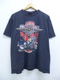 【中古】古着 半袖 ビンテージ ヴィンテージ ハーレーダビッドソン Harley DavidsonTシャツ 90年代 バイク バッファロー ニューヨーク コットン クルーネック 丸首 USA製 アメリカ製 黒 ブラック 【spe】 Lサイズ 中古 メンズ 40495