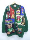 古着 レディース 長袖 ニット カーディガン 90年代 テディベア 木馬 プレゼント 大きいサイズ クルーネック 緑 【spe】 19sep12 中古 トップス