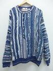 古着 長袖 セーター 3Dニット 大きいサイズ クルーネック 薄紺 【spe】 19sep10 中古 メンズ ニット トップス