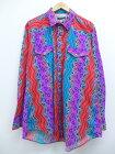 古着 長袖 ウエスタン シャツ 90年代 KARMAN コットン ロング丈 大きいサイズ USA製 紫他 【spe】 19sep12 中古 メンズ トップス