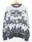 古着 長袖 セーター 90年代 建物 馬 クルーネック 濃グレー他 【spe】 19sep12 中古 メンズ ニット トップス