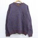 【中古】古着 長袖 セーター 90年代 90s エディーバウアー ウール 大きいサイズ 2L LL ビッグシルエット ゆったり ビ…