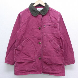 Product made in United States crimson used goods outer jacket blouson | in the old clothes Lady's long sleeves hunting jacket 90s for 90s made in L. L. Bean LLBEAN duck place cotton USA I show cute clothes winter clothing winter clothes casual lady's fas