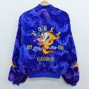 【中古】古着 長袖 スーベニアジャケット 80年代 80s コリア 龍 ドラゴン ベロア 刺繍 紫 パープル 【spe】 Lサイズ …