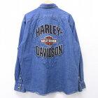 古着 長袖 シャツ 90年代 90s ハーレーダビッドソン Harley Davidson ロゴ 大きいサイズ デニム 紺 【spe】 20apr01 中古 メンズ トップス