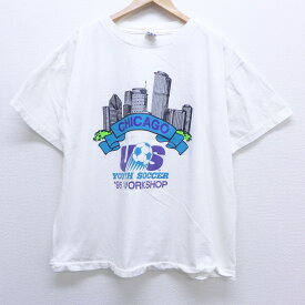 【中古】古着 半袖 ビンテージ ヴィンテージTシャツ 90年代 90s アディダス adidas シカゴ 大きいサイズ 2L LL ビッグシルエット ゆったり ビッグサイズ オーバーサイズ コットン クルーネック 丸首 USA製 アメリカ製 白 ホワイト 【spe】 XLサイズ 中古 メンズ   春夏