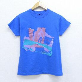 【中古】古着 半袖 ビンテージ ヴィンテージTシャツ 80年代 80s オーシャンパシフィック OP サーフィン クルーネック 丸首 青 ブルー XSサイズ 小さいサイズ 中古 メンズ | 春夏 夏物 夏服 メンズファッション カットソー ティーシャツ ティシャツ メンズTシャツ 半袖T