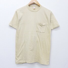 【中古】古着 半袖 ビンテージ ヴィンテージTシャツ 80年代 80s BVD 無地 胸ポケット付き コットン クルーネック 丸首 ベージュ カーキ Sサイズ 小さいサイズ 中古 メンズ | 春夏 夏物 夏服 ヴィンテージTシャツ メンズファッション カットソー ティーシャツ ティシャ