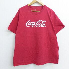 【中古】古着 半袖Tシャツ ヘインズ Hanes コカコーラ 大きいサイズ 2L LL ビッグシルエット ゆったり ビッグサイズ オーバーサイズ コットン クルーネック 丸首 赤 レッド XLサイズ 中古 メンズ 中古メンズ半袖プリントキャラクター